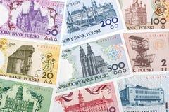 Польские деньги - польская серия городов, предпосылка стоковые фотографии rf