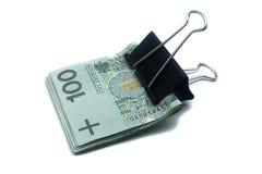 Польские кредитки с зажимом на белизне Стоковое фото RF