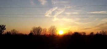 Польский заход солнца весны в марте Стоковые Изображения RF