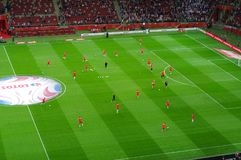 Польский национальный подогрев футбольной команды Стоковые Изображения RF