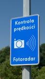 Польский предупредительный знак камеры скорости Стоковые Фото