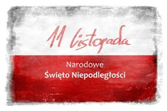 Польский флаг с надписью 9 Стоковое фото RF