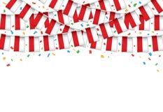 Польша сигнализирует предпосылку гирлянды белую с confetti, овсянкой вида для торжества Дня независимости Польши иллюстрация штока