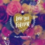 Полюбите вас навсегда - поздравительная открытка дня Святого Валентина иллюстрация вектора