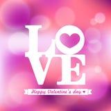 ПОЛЮБИТЕ валентинку и свадьбу слова на розовой предпосылке иллюстрация штока
