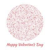 Полюбите силуэт круга от розовой и красной картины сердец изолированной на белой предпосылке Дизайн карточки дня валентинок Стоковые Изображения
