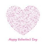 Полюбите силуэт сердца от нежных сердец пинка летания изолированных на белой предпосылке Дизайн карточки дня валентинок Стоковое Изображение
