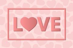 ПОЛЮБИТЕ счастливую карточку дня валентинок, тип шрифта Стоковые Фотографии RF