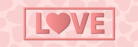 ПОЛЮБИТЕ счастливую карточку дня валентинок, тип шрифта Иллюстрация вектора