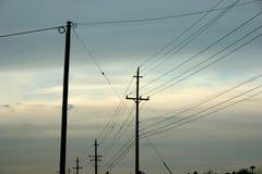 полюс silhouettes телефон Стоковая Фотография