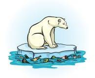 Полярный медведь и polluted море Стоковая Фотография RF