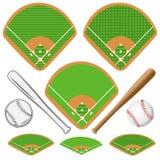 Поля бейсбола равновеликие, кожаный шарик и деревянные летучие мыши Стоковое фото RF