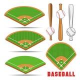 Поля бейсбола равновеликие, кожаный шарик и деревянные летучие мыши Стоковое Изображение RF