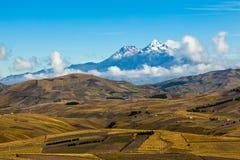 Поля культивируемые в лете с вулканом Ilinizas Стоковое Фото
