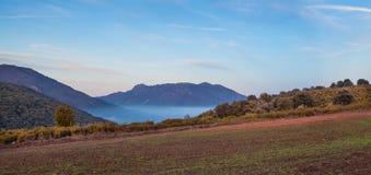Поля Люцерна скачут на каталонских гористых местностях стоковые фотографии rf