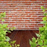 пол кирпича выходит стена деревянной Стоковое Изображение