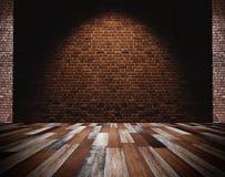 Пол кирпичной стены и древесины, светлое пятно в центре для предпосылки Стоковое Изображение