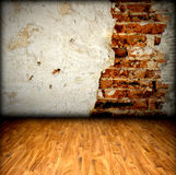 Пол кирпичной стены и древесины Стоковое Фото