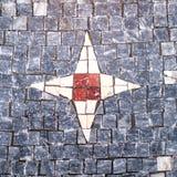 Пол мозаики с дизайном звезды в центре стоковое фото rf