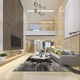 пол перевода 3d роскошный современный двойной живущий с столовой Стоковое Изображение
