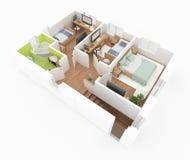 пол 2 поставленной квартиры Стоковое Изображение RF