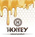 Помадка выплеска меда капая падает от плаката сота пчелы иллюстрация вектора
