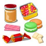 Помадка изолированная на белой предпосылке Красочные confections самый лучший подарок для сладостного зуба также вектор иллюстрац Стоковые Фотографии RF