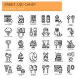 Помадка и конфета, значки пиксела совершенные бесплатная иллюстрация