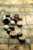 Помадка, пряники шоколада на деревянной предпосылке стоковое фото rf