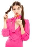 помадка lollipop девушки конфеты стоковые изображения rf