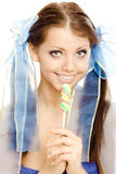 помадка lollipop девушки конфеты стоковая фотография rf