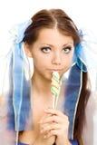 помадка lollipop девушки конфеты стоковое изображение