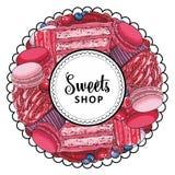 Помадки вектора ходят по магазинам логотип с печеньями пирожного иллюстрация штока