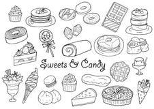 Помадки и комплект иллюстрации конфеты нарисованные рукой Стоковые Фото