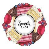 Помадки ходят по магазинам знамя с тортами и печеньями украшенными с ягодами иллюстрация штока