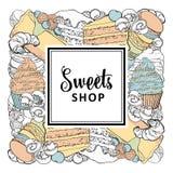 Помадки ходят по магазинам квадратное знамя со сладкими испеченными десертами в стиле эскиза иллюстрация вектора
