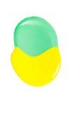 Помарка желтого и зеленого маникюра изолированного на белой предпосылке Стоковая Фотография RF