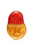 Помарка красного цвета и маникюра золота изолированных на белой предпосылке Стоковая Фотография RF