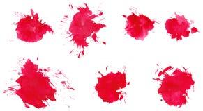 Помарки акварели установили 7 в 1 Стоковое Изображение