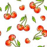 Помадка вишни на белой предпосылке Безшовная картина для конструкции Иллюстрации анимации Ручная работа Стоковые Фото