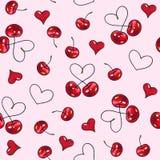 Помадка вишни на розовой предпосылке Безшовная картина для конструкции Иллюстрации анимации Ручная работа Стоковое Изображение