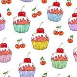 Помадка вишни торта на белой предпосылке Безшовная картина для конструкции Иллюстрации анимации Ручная работа Стоковое Изображение RF