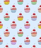 Помадка вишни торта на голубой предпосылке Безшовная картина для конструкции Иллюстрации анимации Ручная работа Стоковая Фотография