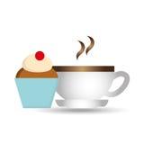 помадка пирожного шаржа с графиком значка кофе чашки горячим Стоковая Фотография