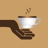 помадка пирожного шаржа с графиком значка кофе чашки горячим Стоковое Фото