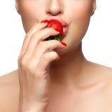 помадка укуса Клубника здорового рта сдерживая Стоковое Фото