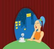 помадка чашки круасанта кофе пролома предпосылки Стоковое Изображение