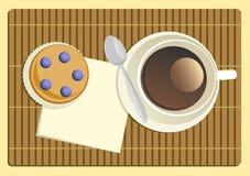 помадка чашки круасанта кофе пролома предпосылки Стоковая Фотография RF