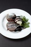 Помадка шоколада с мороженым Десерт Стоковая Фотография