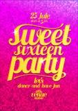 Помадка 16 party плакат моды розовый с письмами золота Стоковые Изображения